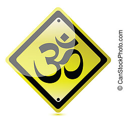 om yellow road sign
