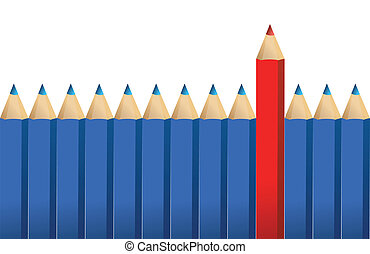 pencils and one red crayon