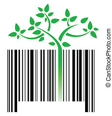 bar code with green sprouts growing illustration design over...