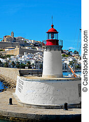 View of Sa Penya and Dalt Vila districts from the port in...