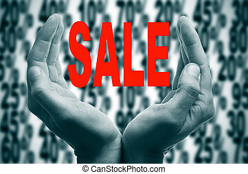 sale - man hands forming a cup and the word sale written in...