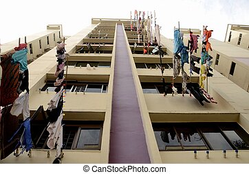 Public apartments in Singapore - Laundry hanging outside...