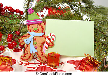 Ginger bread cookie man with christmas card