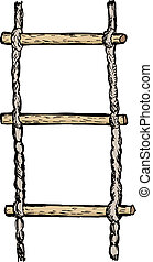 rope-ladder - hand drawn, vector, sketch illustration of...