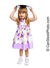 Little girl holding vinyl plate