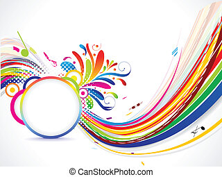 abstract musical wave background with panel vector...