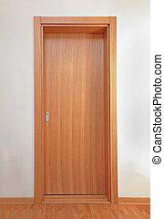 Interior sliding door - Tall wooden door in modern interior...