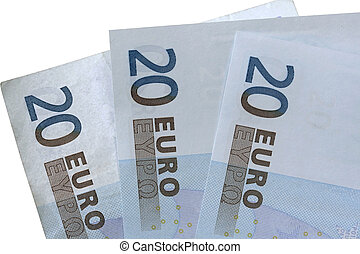 20 EURO isolated on white background