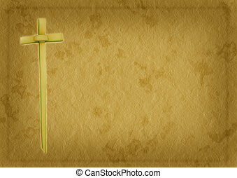Palm Sunday Christian background - Palm leaf cross over...