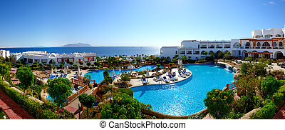 panorama, playa, lujo, hotel, Sharm, jeque, Egipto