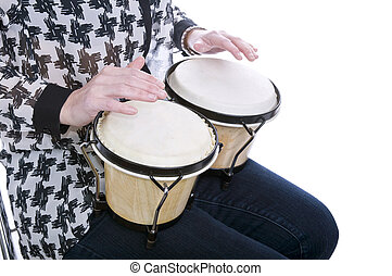 woman playing bongos closeup with white background