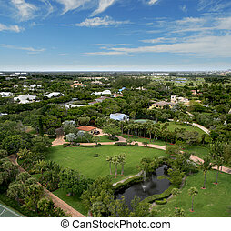 Florida Park Flyover Aerial - Aerial photograph taken during...