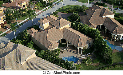 Florida Neighborhood Flyover Aerial - Aerial photograph...