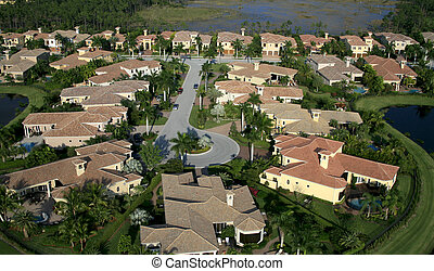 Florida Neighborhood Flyover Aerial