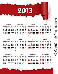 calendar 2013 with red torn paper