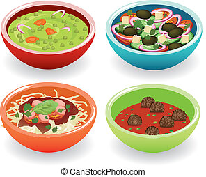 four foods in bowl - pea soup, vegetable salad, spaghetti...