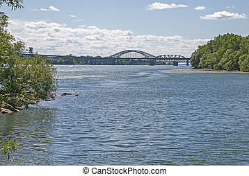 Bridge over St Lawrence River - Partial view of the Mercier...