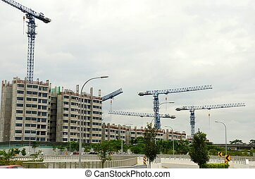 Cranes,buildings under construction - Multiple buildings...