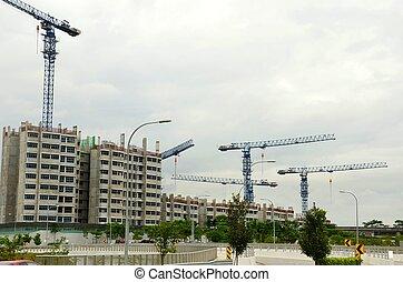 Cranes,buildings under construction - Multiple buildings...