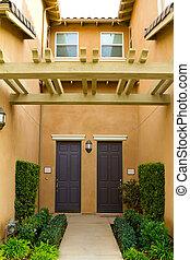 California Condo - A condo in Southern California has doors...