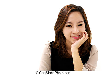 Friendly Smile - young attractive business woman with a...