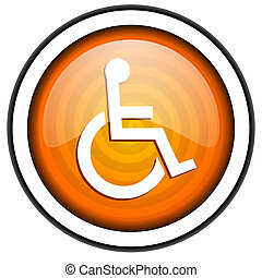 accessibility orange glossy icon isolated on white...