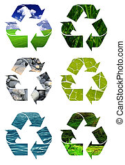 Recycling logos Clip Art - recycle symbol cut out of...