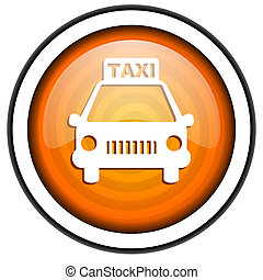 taxi orange glossy icon isolated on white background