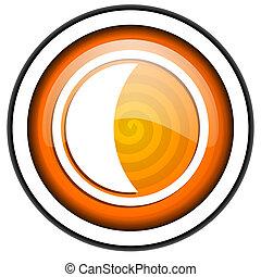 moon orange glossy icon isolated on white background