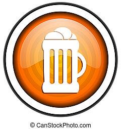 beer orange glossy icon isolated on white background