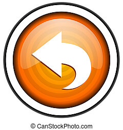 back orange glossy icon isolated on white background