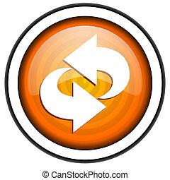 rotate orange glossy icon isolated on white background