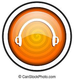 headphones orange glossy icon isolated on white background