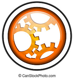 gears orange glossy icon isolated on white background