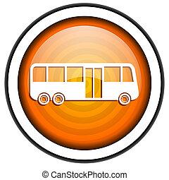 bus orange glossy icon isolated on white background