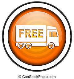free delivery orange glossy icon isolated on white...