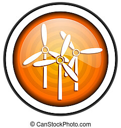 windmill orange glossy icon isolated on white background