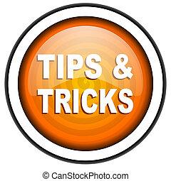 tips orange glossy icon isolated on white background