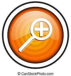magnification orange glossy icon isolated on white background