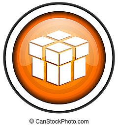box orange glossy icon isolated on white background