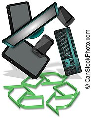 E-waste recycling - Recycling symbol and electronic...