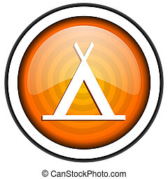 camping orange glossy icon isolated on white background