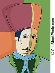 Abstract Turkish Muslim Man - Abstract portrait of 19th...