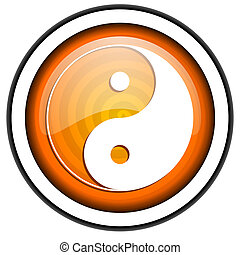 ying yang orange glossy icon isolated on white background
