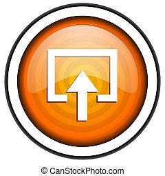 enter orange glossy icon isolated on white background