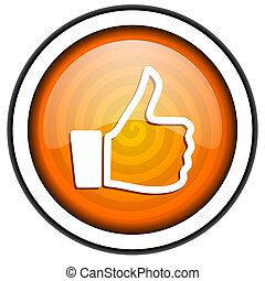 thumb up orange glossy icon isolated on white background