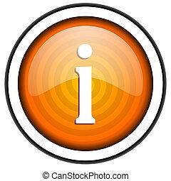 information orange glossy icon isolated on white background