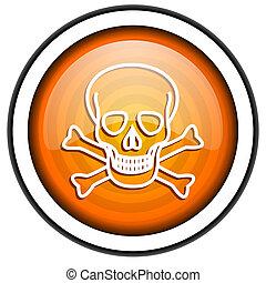 skull orange glossy icon isolated on white background