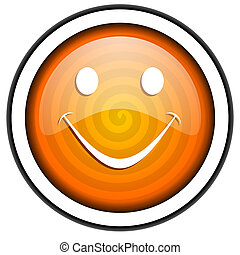 smile orange glossy icon isolated on white background