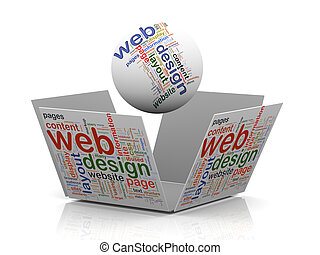 3d web design wordcloud tags - 3d rendering of sphere and...